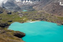 Majestic mountain lake Ala-Kul, Kyrgyzstan stock image