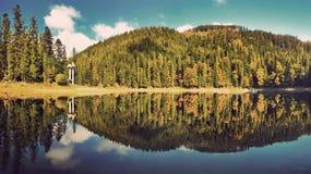 Majestic mountain lake. Amazing panorama at sunset. Instagram filter Royalty Free Stock Photos