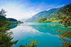 Majestic Mountain Lake In Switzerland Royalty Free Stock Image