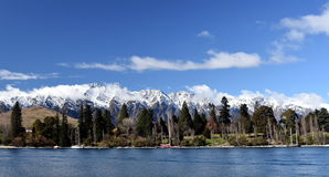 Majestic mountain and lake landscape of Queenstown. New Zealand. Lake Wakatipu, Kelvin Heights, The Remarkables Stock Image