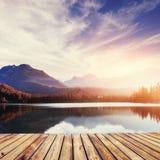Majestic mountain lake in National Park High Tatra. Strbske ples Royalty Free Stock Photos