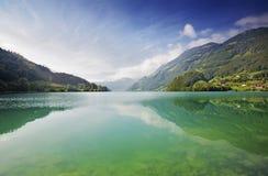 Majestic mountain lake in Switzerland Stock Photos
