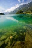 Majestic mountain lake in Switzerland stock photography