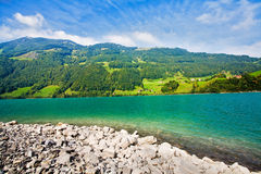 Majestic mountain lake in Switzerland Stock Images