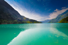 Majestic mountain lake in Switzerland stock photo