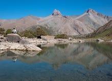 Majestic mountain lake in Tajikistan. Majestic blue mountain lake in Tajikistan. Fann Mountains Royalty Free Stock Photography
