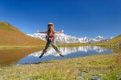 Majestic mountain lake in Tajikistan. Royalty Free Stock Photo