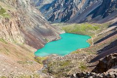 Majestic mountain lake in Tien Shan, Kirgizstan Royalty Free Stock Images