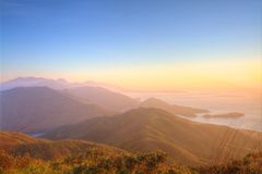 Majestic mountain landscape at sunset in Hong Kong Royalty Free Stock Image