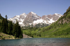 Majestic mountain peak. Maroon belles in colorado Stock Image