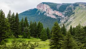 Majestic Mountain Peak And Sloping Hillside Covered With Lush Forest Near Bozeman, Montana Royalty Free Stock Photography