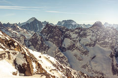Majestic mountain peaks covered in snow. French alps stock image