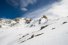 Majestic mountain peaks in winter in the Alps Royalty Free Stock Photography