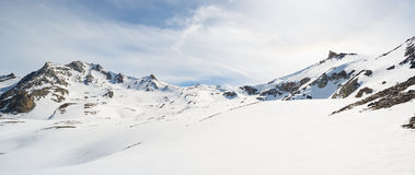 Majestic mountain peaks in winter in the Alps Stock Photo
