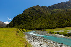 Majestic mountain and stream landscape. In Wanaka, New Zealand Royalty Free Stock Images