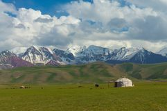 Majestic mountains in Chon-Alai and kyrgyz yurt. Under the peak of Lenin and a blue sky with clouds Stock Photo