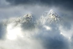 Majestic mountains in the clouds Royalty Free Stock Image