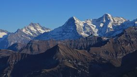 Majestic mountains Eiger, Monch and Jungfrau Royalty Free Stock Photo