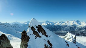 Majestic mountains panorama aerial view fly over winter snow landscape