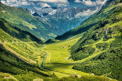 Majestic mountains view. Little river in the mountainous valley, beauty of fresh green nature, panoramic landscape, traveling and tourism concept Royalty Free Stock Photography