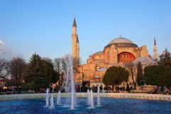 The glorious museum of Hagia Sophia in modern Istanbul. The majestic museum of Hagia Sophia, the most famous byzantine architectural achievement royalty free stock images