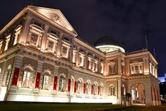 National Museum of Singapore Night Shot. The majestic National Museum of Singapore. Singapore`s oldest museum at Stamford Road is one of the most recognizable Stock Image