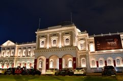 National Museum of Singapore Night Shot. The majestic National Museum of Singapore. Singapore`s oldest museum at Stamford Road is one of the most recognizable Royalty Free Stock Photo