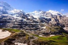 Majestic Natural European Swiss Alpine Scenery Background, Jungfrau Region, Lauterbrunnen, Bernese Oberland, Bern, Switzerland. Majestic Natural European Swiss stock photography