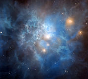 Majestic nebula. Bright cosmic nebula with complex structure and bright stars shining inside it stock photography