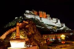 Majestic nightscape of Lhasa and Potala Palace, China royalty free stock photography