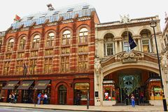 Luxury stores Piccadilly Mayfair, London England. Majestic old building of Bentley & Skinner and Burlington Arcade at Piccadilly  Mayfair, City of Westminster Stock Photo
