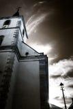 Majestic old church skyward, Alsace, Ottrott, France Stock Image