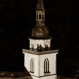 Majestic old church in small french village Andlau Royalty Free Stock Image