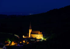 Majestic old church in small french village Andlau Stock Photos