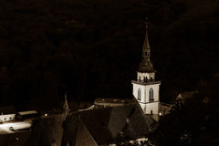 Majestic old church in small french village Andlau Royalty Free Stock Photo