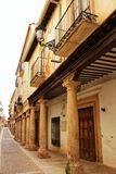 Majestic and old stone houses through the streets of Alcaraz, Castile-la Mancha community, Spain. Majestic and old stone houses of Renaissance style through the Stock Photography