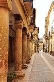 Majestic and old stone houses through the streets of Alcaraz, Castile-la Mancha community, Spain. Majestic and old stone houses of Renaissance style through the Royalty Free Stock Photos
