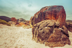 Majestic orange rocks on Squeaky Beach at Wilsons Promontory, Vi Royalty Free Stock Image