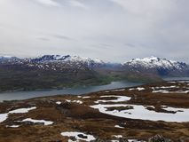 Majestic overview of the whale island. Northern norway royalty free stock photography