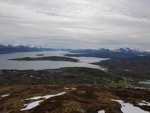 Majestic overview of the whale island. Northern norway royalty free stock photos