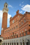 Majestic Palazzo Pubblico on Piazza del Campo in Siena, Tuscany, Italy Royalty Free Stock Photos
