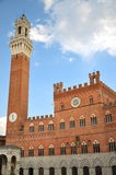 Majestic Palazzo Pubblico on Piazza del Campo in Siena, Tuscany, Italy Royalty Free Stock Images