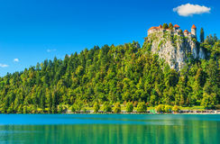 The majestic panorama with Lake Bled and castle,Slovenia,Europe Stock Images