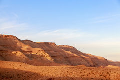 The majestic panorama of mountains surrounding of Big Crater (HaMakhtesh HaGadol) in Israel Royalty Free Stock Photo