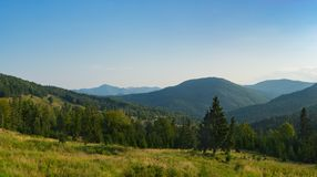 Majestic panoramic view of Carpathian mountains. Putna-Vrancea n. Atural park in Romania, Europe stock photo