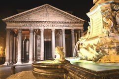 Majestic Pantheon and the Fountain by night on Piazza della Rotonda in Rome, Italy Stock Photography