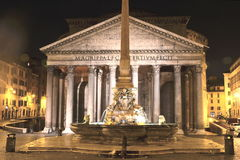 Majestic Pantheon and the Fountain by night on Piazza della Rotonda in Rome, Italy Stock Image