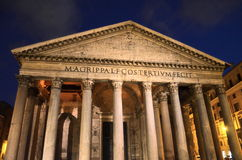 Majestic Pantheon by night on Piazza della Rotonda in Rome, Italy Stock Images