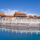 Majestic pavilion reflected in canal, Palace Museum, Beijing, China Stock Photo