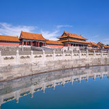 Majestic pavilion reflected in canal, Palace Museum, Beijing, China Royalty Free Stock Photo